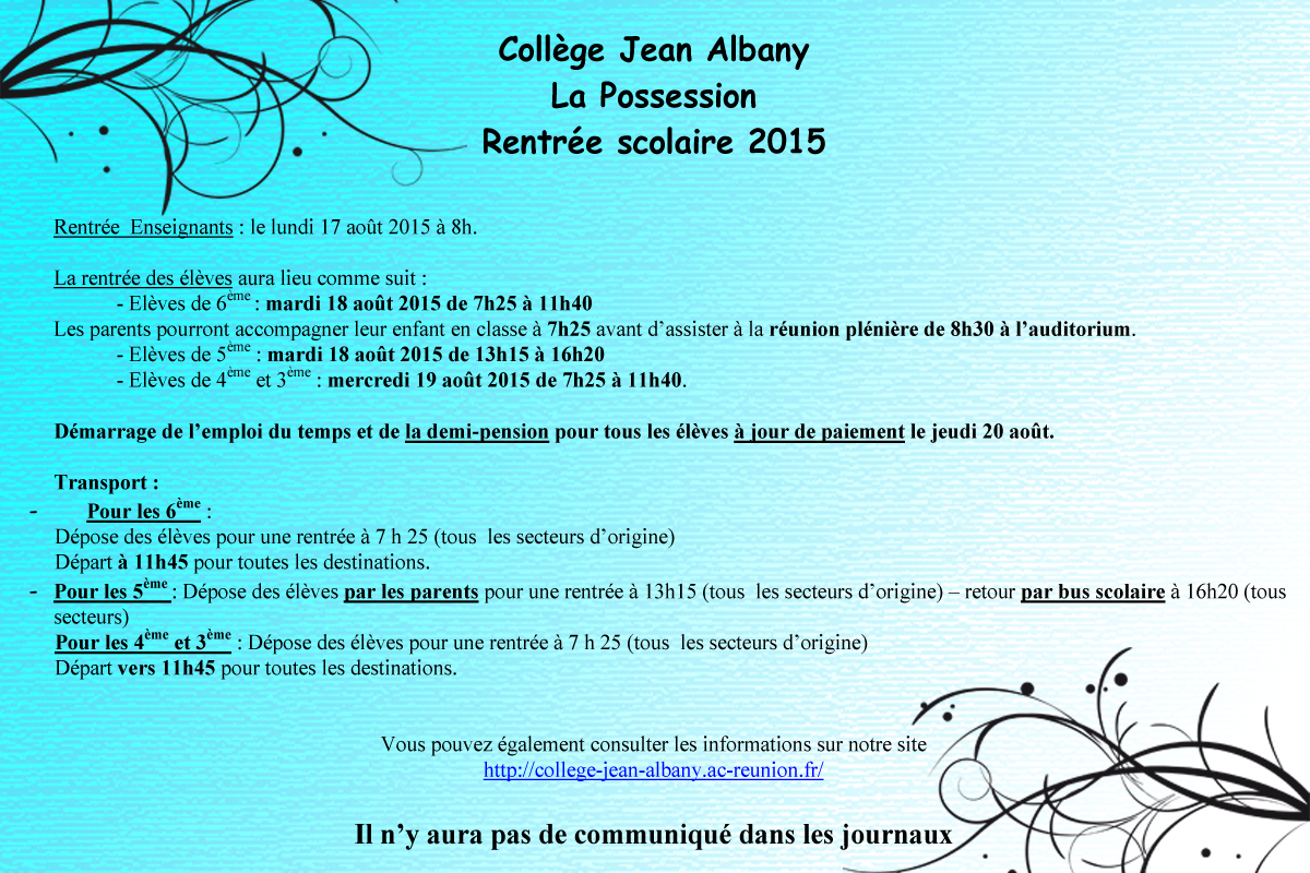 rentr e scolaire 2015 coll ge jean albany acad mie de. Black Bedroom Furniture Sets. Home Design Ideas